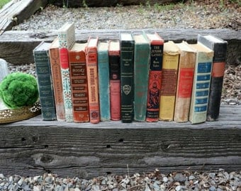 Set of 14 Vintage Books - Antique Book Decor - Photo Props - Wedding Decor - Centerpieces - Deep Tones - Blue, Green, Red, Brown, Library