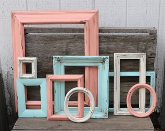 Set of 9 Open Frames - Soft Pink Coral, Aqua Mint, and Off White Painted Frames - Distressed Frames - Nursery Decor - Wedding Decor - Frame