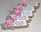 Wedding shower favors, mint to me wedding, bridal shower favor, burlap and pink flower, pink party favor, Set of 35 mint favors