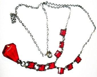 "Art Deco Pendant Red Princess Teardrop Rhinestones Silver Chain 17"" Vintage"