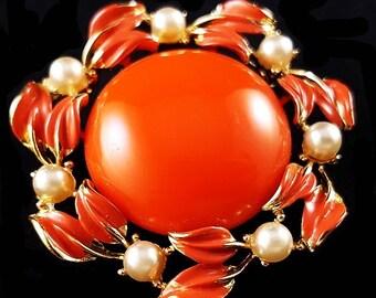 Coro Pegasus Orange Brooch Pin Signed Pearl Beads Coral Enamel Leaves Circle Gold Metal 2' Vintage