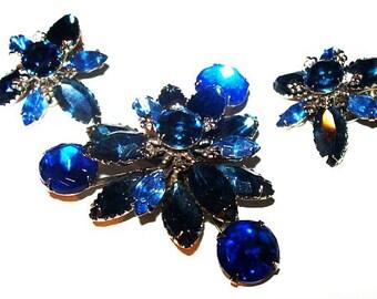 Blue Rhinestone Brooch Earring Set Beau Jewels 3 Tiers Silver Metal Vintage