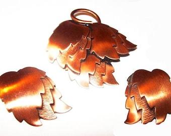 Renoir Copper Brooch Demi Set Clip On Earrings Layered Leaf Design Autumn Vintage