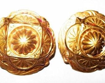 "Art Deco Earrings Screw On Backs Gold Metal Etruscan Circle Design 1"" Vintage"