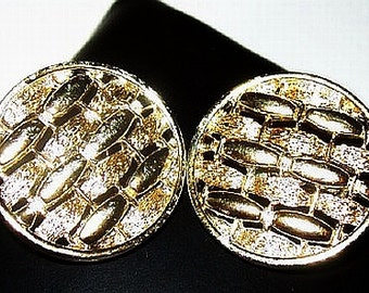 "Coro Clip On Gold Earrings Designer Signed Metallic Button Circles 1"" Vintage"