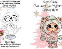 INSTANT DOWNLOAD Coloring Book Pages Pink Christmas 10 Pages Big Eye Big Head Dolls My Bestie By Sherri Baldy