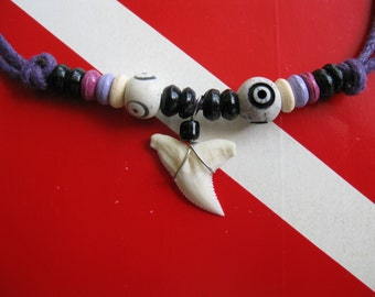 """Shark Tooth Necklace, Modern Day """"Snaggletooth"""" Shark, Adjustable cord, Stainless steel wrapped"""
