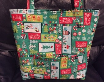 Christmas tote, market bag, penguins, elves, book bag, hostess gift, holiday, winter, gingerbread man
