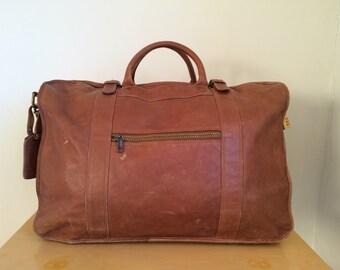 RARE Vintage Tumi Dakota Brown Tan Leather Large Huge XL Luggage Duffle Weekender Travel Carry On Overnight Bag