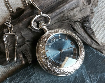 Silver Pocket Watch Blue Dial,Mechanical, Personalize Engravable, Wind up Watch Groom, Wedding, Father of the bride