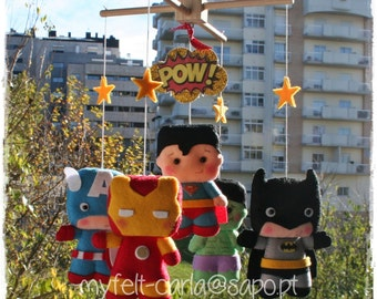 Baby Crib Mobile, Super Heroes Mobile, Baby Mobile, Super Heroes Nursery, Super Heroes Bedding, Superhero, Felt Baby Mobile, Super Hero Doll