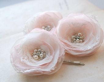 Bridal Hair Accessories, Wedding Fascinator Small Hair Flowers Lace Bridal Flowers Vintage Rustic Wedding Headpiece Pink Blush Hair Clips