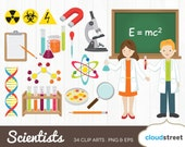buy 2 get 1 free Science clipart / vector mad scientist clip art / little scientists chemist chemistry lab laboratory / commercial use ok