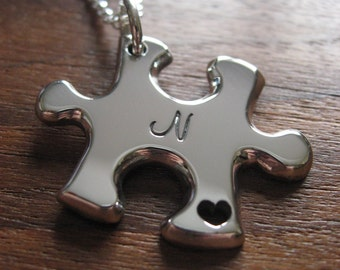 A Handmade Silver Puzzle Piece Pendant Necklace with Handcut Heart and Initial 2