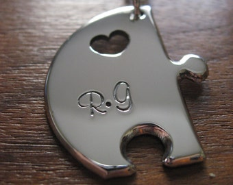 Puzzle Pendant Necklace with two Stamped Initials 4