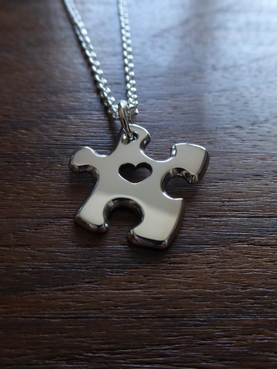 Miniature Puzzle Pendant with Heart Silver Necklace