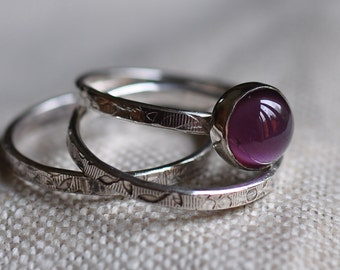 Sterling silver amethyst cabochon stacking rings, blossom printed, hand forged, unique, oxidized