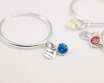 CZ birthstone dangle ring -  925 solid sterling silver - adjustable ring  - personalized ring  - zirconia ring