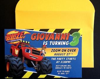 Blaze and the Monster Machines Invitation, Blaze and the Monster Machine Birthday Blaze, Monster Truck Invite