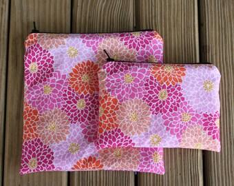 Reusable Bag Combo, Flower - Zipper Sandwich Bag and Zipper Snack Bag