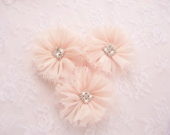 Ballerina Chiffon Blush Flowers Hand dyed blush flowers with Fiery Rhinestones