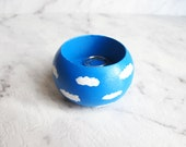 Sunny Day - Handpainted Mini Wooden Bowl/ Ring Dish Jewelry Storage Sky Clouds Sliver Lining