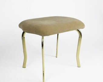 Vintage Upholstered Bench with Brass Plated Legs
