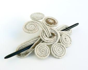 Rustic Hair fork, Cream slide barrette, Delicate shawl brooch, Unique hair clip, Bohemian jewelry, Beige hair holder, Retro hairstyle Boho