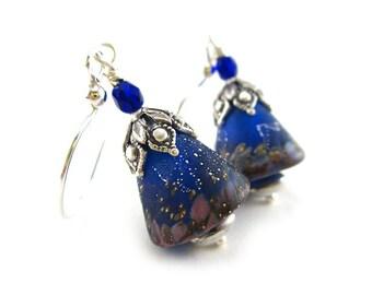 Cobalt Cones Earrings - Artisan Lampwork Glass Earrings - Sterling Silver Earrings - Handcrafted Artisan Earrings - Cobalt Blue - SRAJD 3955