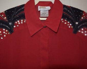 Vintage red blouse by Elite INTERNATIONAL