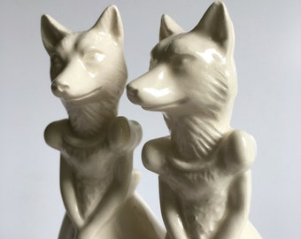 Fox Ladies ceramic wedding cake topper