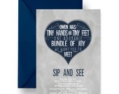 Navy Sip See Baby Invitations Baby Boy, Meet Greet Shower Invites, Boys Baby Shower, Couples Meet Baby, Unique Announcement (SSNAVGREYBSIN)