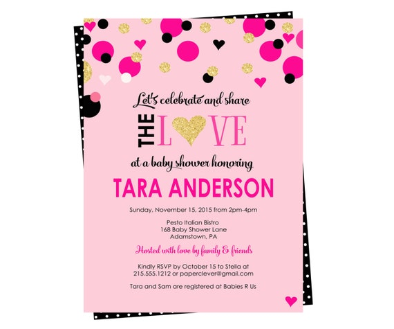 paris baby shower invitations glitter pink party printable or printed