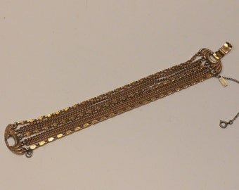 Vintage Monet Multi-Strand Chain and Link Bracelet, Goldtone Metal and Wire - 1970s - signed