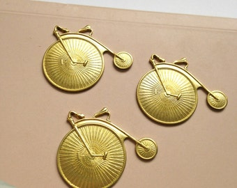 3 x brass penny farthing bicycle stamping charms