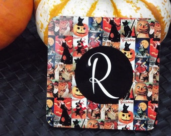 Personalized Vintage Halloween Poster Cork Back Coasters set of 4