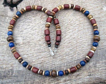 Mens surfer necklace, lapis lazuli, bone, wood and shell beads, natural materials, earthy colors, on strong cord, handmade, tribal style