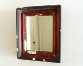 Vintage Mirror Wood Frame Rustic Red Black Chippy