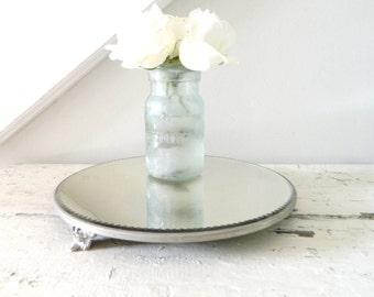 Vintage Vanity Plateau Mirror Beveled Scalloped Edges Silver Metal  Mirror Large