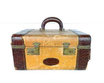 Vintage Train Case Tweed Brown Tan Leather Trim