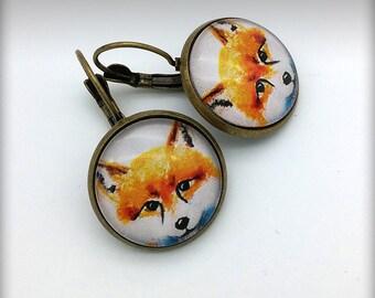 Foxy Domed Glass Earrings, Brass Leverback