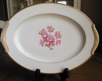 Goregous Noritake Japan 5235 Platter with Pink Dogwood with Gold Trim and Handles