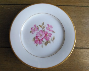 Noritake 5235 Pink Dogwood Center and Gold Trim Bread Plates Set of Four