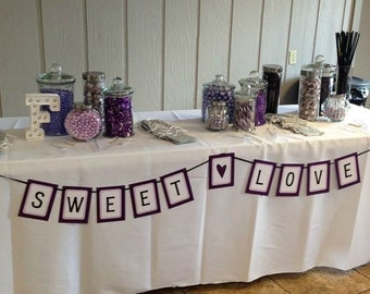 SWEET LOVE Wedding Reception Banner With Heart / Candy Table / Dessert Table / Cake Table / Photo Prop / Decoration