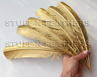 GOLD feathers metallic gold painted large turkey feathers real quill, gold feather for millinery wedding party decor / 10-14 in long / F171G
