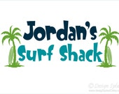 Surf Shack Personalized Name with Palm Tree/Surfboard Vinyl Wall Decal Set, Beach Wall Decor B-114