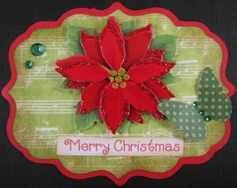 2 Merry Christmas Embellishments - Scrapbook, Card Topper, tag, ornament