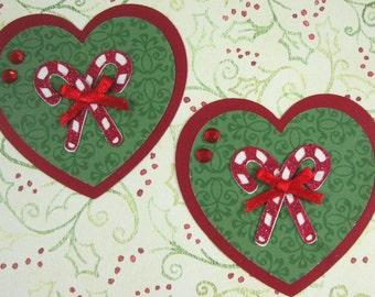 Hearts and Candy Canes Christmas Embellishment, 3D, Paper Piecing, Tag, cupcake Topper
