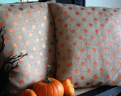Burlap Polka Dot Pillow Cover Set 20x20