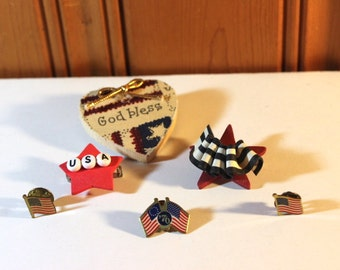 Group of Six Patriotic Pins Americana Happy Fourth 4th of July Red White and Blue